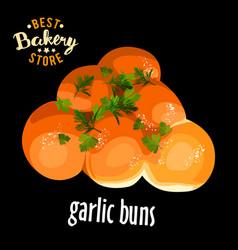 bakery shop garlic buns vector image vector image