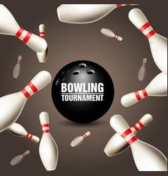 Bowling tournament invitation card - frame vector