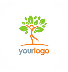 happy man green tree nature logo vector image vector image