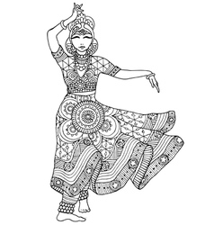 Indian dancer in a patterned dress vector