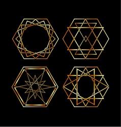 Set of Artistic hexagonal logos in gold vector image vector image