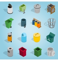 Trash bin set icons isometric 3d style vector image