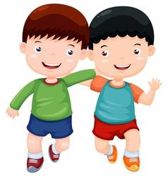 Two boys have fun vector image vector image