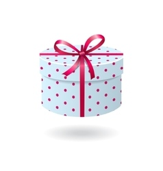 Blue with pink spots gift box vector image