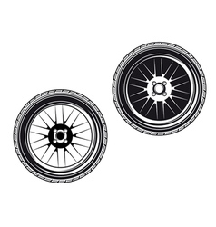car wheels and tyres vector image