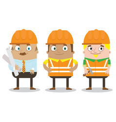 colorful construction workers in helmets for vector image vector image