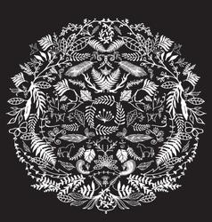Decorative floral circle black vector