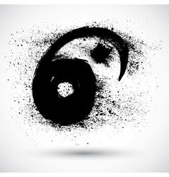 Grunge yin yan sign vector