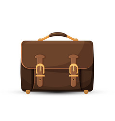 icon of brown leather briefcase isolated on white vector image vector image