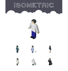 Isometric person set of medic male housemaid and vector