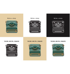 set of 6 vintage cards with typewriters vector image