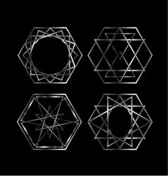 Set of artistic hexagonal logos in silver vector