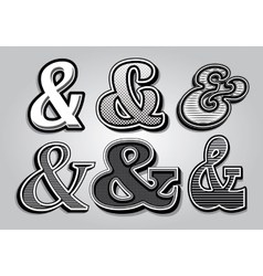 set of stylish ampersands from different fonts vector image vector image