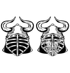 Skull in helmet with horns vector image