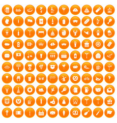 100 beer party icons set orange vector