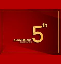 5 anniversary celebration logotype golden color vector
