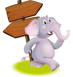 A gray elephant following the direction vector image