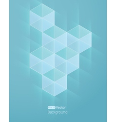 Abstract light blue background with cube vector