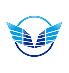 abstract sharp wings ring blue symbol logo design vector image