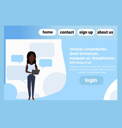 african american woman chat bubble using laptop vector image