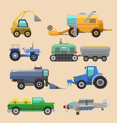Agricultural vehicles harvester tractor vector