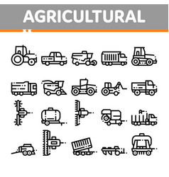 agricultural vehicles thin line icons set vector image