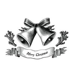 antique engraving christmas black and white vector image