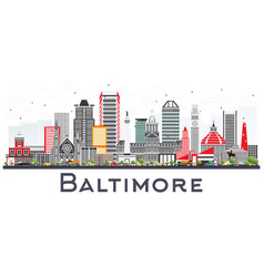 baltimore maryland city skyline with gray vector image