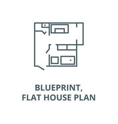 blueprintflat house plan line icon vector image
