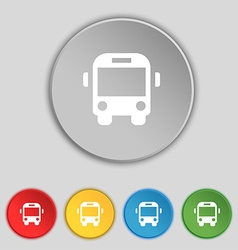 Bus icon sign Symbol on five flat buttons vector image
