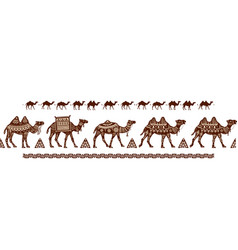 Camel caravan seamless pattern with ethnic motifs vector