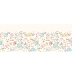 Cats among flowers horizontal seamless pattern vector