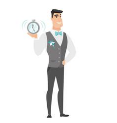 caucasian groom holding alarm clock vector image