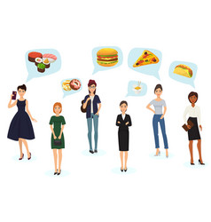 caucasian young women thinking fast food vector image