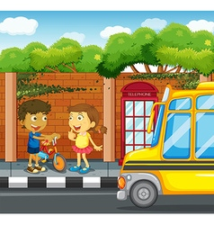 Children hanging out on the sidewalk vector image