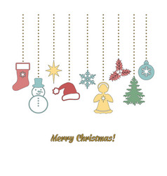 christmas garland in doodle style vector image