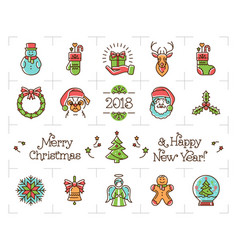 christmas line icons set holiday symbols new vector image