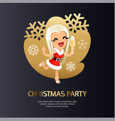 christmas party card dark with happy girl vector image