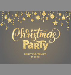christmas party poster template hand written vector image