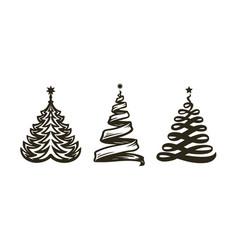 christmas tree abstract symbol holiday vector image