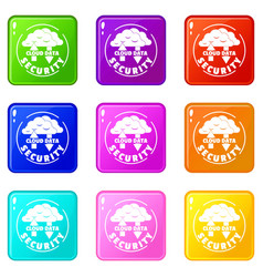 cloud data security icons set 9 color collection vector image