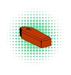 Coffin icon comics style vector image