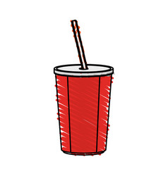 Color crayon stripe cartoon plastic soda vector