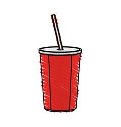 color crayon stripe cartoon plastic soda vector image