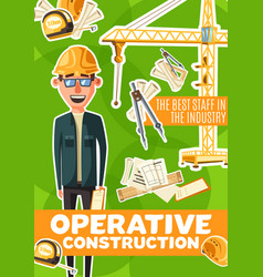 construction engineer or architect profession vector image