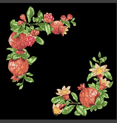 Corner frame decorative element with pomegranate vector