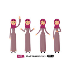 emotions arab business woman waving hand goodbye vector image