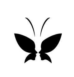 Face of a lady and butterfly- logo concept for spa vector image