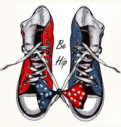 fashion background with sports boots sneakers vector image