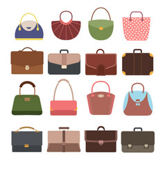 Female and male handbags fashion lady purse and vector